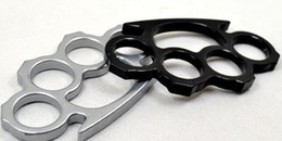 KnucKle dusters online shopping - 2PCS Silver and Black Thin Steel Brass knuckle dusters