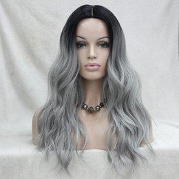 Venta al por mayor de ¡No corte el frente de encaje! Hivision Quality Heat Ok sintético negro a gris Ombre peluca ondulada larga