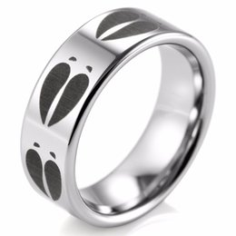 Track Flats Canada - SHARDON fashion 8mm Tungsten Ring with Animal Deer Track Print Rings Engraved Flat Outdoor Wedding Bands