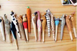 Animal Handmade Canada - 200pcs lot Animal Wooden carving creative ballpoint pen wood Ball point pens handmade sculpture student ball-point free shipping
