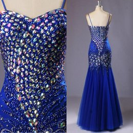 Blouses Embellies Pas Cher-Luxe Royal Blue Mermaid Robe de bal Cristal coloré Beads Peacock Embellished Prom Gowns Pageant Robe Sweetheart Spaghetti Straps