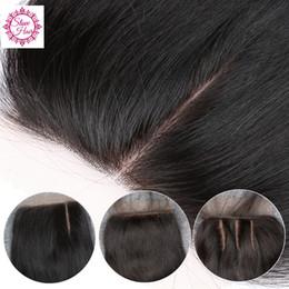 Part Side NZ - Slove Hair Silk Base Closure Straight Brazilian Virgin Human Hair Closure Silk Top Closures With Baby Hair 3 Middle Side Free Shipping