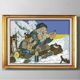 decor birds UK - The snow bird old man, DIY handmade decor painting counted printed on canvas DMC 14CT  11CT, Cross Stitch Needlework Embroidery kit