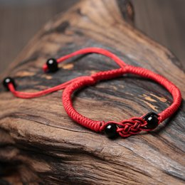 Gift Valentine S Day Canada - Natural Agate Red Rope Braided Bracelet Female Male Couple Models Valentine 's Day Gift