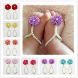$enCountryForm.capitalKeyWord UK - Hot sale newborn lovely pearl anklets diy baby shoes baby footchain baby fashion Flower feet jewelry