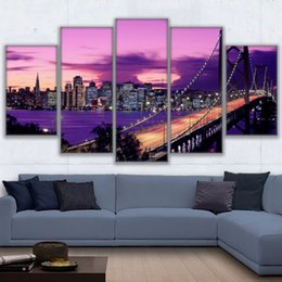 wall art home bridges Canada - 5 Pcs Set Canvas Paintings Home Decor Wall Art Frame Purple Sunset San Francisco Bridge Landscape Posters HD Prints Pictures