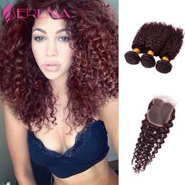 $enCountryForm.capitalKeyWord Australia - 7A brazilian virgin hair with closure bundles with closure Afro Kinky Curly Virgin Hair #99J Curly Brazilian Hair Extensions