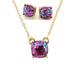 $enCountryForm.capitalKeyWord Canada - Hot Sale Kate Style Opal Glitter Studs Necklace Gold Rainbow Square Glitter Stud Earrings Necklace Set New York Women Fashion Jewelry