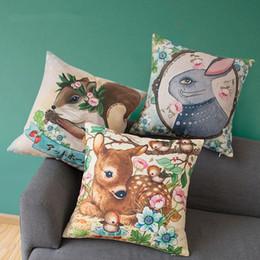 print cushion deer 2019 - 45cm forest animal cartoon Sika deer rabbit  squirrel Pastoral cotton linen cushion covers sofa decorative pillow case l