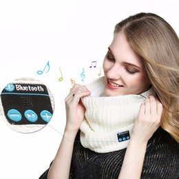 chinese scarf wholesaler Canada - Bluetooth smart scarf headset neckerchief earphone warm winter knitting music collar scarf with mic For Andriod iPhone christmas gift women