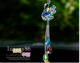 Chains For Mirrors Australia - 1pcs colorful crystal swan Car auto truck power hot vip Charms STRAP Chain for Rearview Mirror 28cm