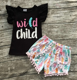 $enCountryForm.capitalKeyWord NZ - Wholesale- 2016 WILD CHILD clothing summer girls boutique clothing black top with feather shorts seersucker shorts
