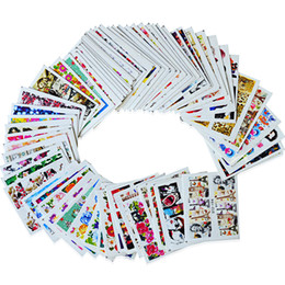 China Wholesale-SWEET TREND 64sheets Nail Decals Full Wraps Flower Water Transfer Stickers Decoration Tips Sexy Watermark Nail Tools STZ145-208 cheap flower watermarks suppliers