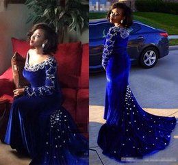 $enCountryForm.capitalKeyWord NZ - Vintage Royal Blue Velvet Mermaid Evening Dresses For Black Girl 2017 Long Sleeves V Neck Plus Size Sparkly Crystal Prom Pageant Gowns Cheap
