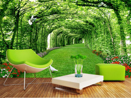 Wholesale mural wallpaper Customized luxury wallpaper Forest lawn landscape trees d wall murals