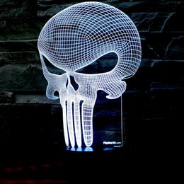 Skull Kid Figure Canada - 3D Punisher Skull Lighting Nightlight with a Soft Glow for Kids. These Lights Make Beautiful Gifts