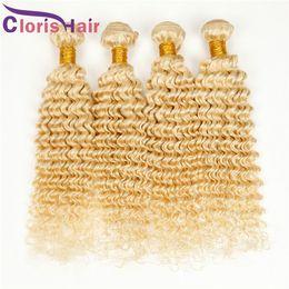 Discount hair bleach for weave - Deep Wave Raw Indian Hair Weave #613 Bleach Blonde Human Hair Extensions Grade 8A Virgin Indian Curly Hair Weft Bundles