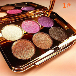 Discount best eye glitters - Wholesale- New Arrival 1 set 6-color Diamond Shine Eye Shadow Palette Makeup kit 6 Styles You can Choose Best Gift For W