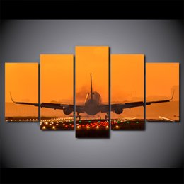 $enCountryForm.capitalKeyWord Australia - 5 Pieces Airplane Sunset Landscape HD Prints Posters Home Canvas Wall Art Pictures Abstract Paintings Room Decor Framework