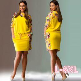 2017 Summer Big Size Fashion Elegant Dresses Women Half-Sleeve Plus Size  Print Dress Casual Loose Robe Office Dress Vestidos 4XL 5XL 6XL 63baa1f7ad6d