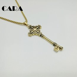 $enCountryForm.capitalKeyWord NZ - CARA New Big Key Well polished hip hop stainless steel pendant & necklace Vintage silver Gold color chain charm necklace women CARA0135