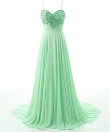 S'habille Pas Cher-Livraison gratuite Vestidos De Noite 2017 Spaghetti Straps Long Green Chiffon Beaded Crystals Sexy Backless Evening Prom Dresses