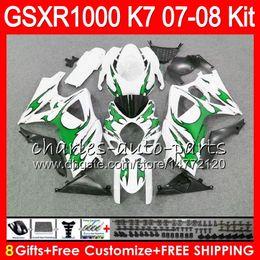Chinese  8 Gifts 23 Colors SUZUKI GSXR1000 Bodywork For 2007 2008 K7 13HM47 green flames GSXR-1000 07 08 GSX-R1000 GSXR 1000 07 08 Fairing Kit Body manufacturers