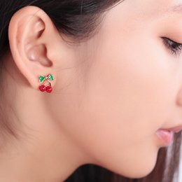 Discount cute sweet nails - Drip oil red cherry cute ear nail sweet feel stud earring wholesale free shipping