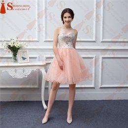 Barato Penteado Vestido De Baile Elegante-2018 New Arrival Real Picture Hot Sale Popular Spaghetti Strap Tulle Beaded Short Coral Elegant Prom Dress Peach Prom Gown