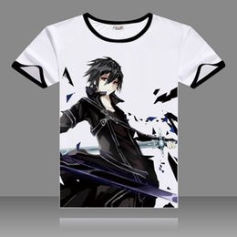 Sao coSplay online shopping - 2017 Sword Art Online Cosplay T shirts SAO Black O Neck Short Sleeve Kirigaya Kazuto Print Shirt Yuuki Asuna Men Top Summer Tees