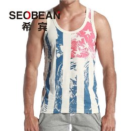 Discount striped tank top men - Wholesale- Free Shipping Fashion men's Tank Tops Korean summer cotton vest bottoming tight striped vest S M L XL