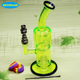 Fluorescent green oil rig online shopping - NEW Fluorescent green glass bongs smoking water pipes With Domeless Titanium Nail for tobacco and oil rig MM Jiont