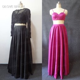Wholesale photos crop tops resale online - Real Photo Black Three Pieces Prom Dresses Seperate Crop Top Illusion Long Sleeve A Line Evening Dress Custom Made Low Price High Quality