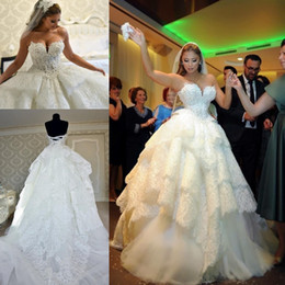 Discount pnina crystal wedding dresses - New Pnina Tornai 2017 Puffy Lace Wedding Dresses Backless Pearls Tiered Sweetherat Court Train Custom Made Plus Size Bal