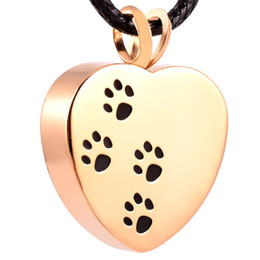 Wholesale paws prints resale online - IJD8004 Heart Stainless Steel Cremation Pendant Necklace Paw Print Pet Ashes Keepsake Urn Necklace