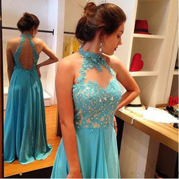 Robes tuRquoises online shopping - 2017 New Turquoise Prom Dresses Long Lace Appliques Formal Women Evening Party Gowns Beaded Chiffon A Line Robe De Soiree