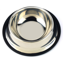 stainless steel pet bowl wholesalers Canada - 1 x Standard Stainless Steel Pet Puppy Cat Dog Food or Drink Water Bowl Dish Wholesale