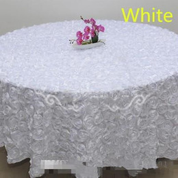 PurPle flower cake decorations online shopping - Blush Pink D Rose Flowers Table Cloth for Wedding Party Decorations Cake Tablecloth Round Rectangle Table Decor Runner Skirts Carpet Cheap