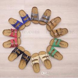 Kids Summer Flip Flop Wholesale Canada - Kids Beach Flip-flops Summer Sandles Cork Beach Sandals Fashion Antiskid Slippers PU Leather Slippers Casual Cool Slippers Sandalias B1936