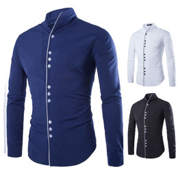 Xs Robes À Manches Longues Pas Cher-Vente en gros - 2016 New Fashion Casual Men Shirt Long Sleeve Stand Couleur Slim Fit Shirt Hommes Affaires coréennes Hommes Chemises habillées Vêtements pour hommes