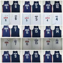 Barato Shirts Men Usa-Homens 2016 EUA Camisa Doze Equipe 12 DeMarcus Primos 9 DeMar DeRozan 5 Durant Klay Thompson 13 Paul George 15 Anthony 8 Harrison Barnes Jersey
