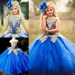Vestidos De La Dama De Honor Del Baile De Los Cabritos Baratos-Cute Azul Tulle vestido de longitud Adolescentes vestido formal con oro Appliques junior dama de honor Vestidos Boat Neck Kids Prom Dress Girls