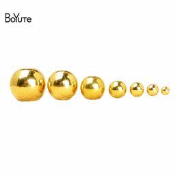 BoYuTe 100шт 2мм 3мм 4мм 5мм 6мм 8мм 10мм 12мм 14мм круглый металлический латунь бусины изготовления ювелирных изделий на Распродаже