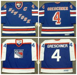 Mens 1978 New York Rangers Ron Greschner Hockey Jersey CCM Vintage  4 Ron  Greschner Jersey Stitched Cheap NYR Blue C Patch d5e889b75