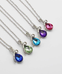 Artificial Chains Wholesalers Australia - Crystals setting teardrop Necklaces hanging chain Artificial Jewelry necklace Ocean Love Necklace pendant