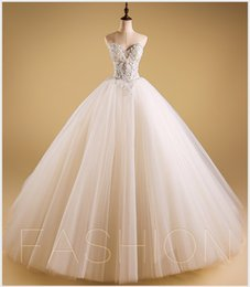 2017Luxurious Bling Strapless Wedding Dresses Corset Bodice Sheer Bridal Ball Crystal Pearl Beads Rhinestones Tulle Gowns Rhinestone