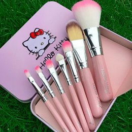 Cepillos De Maquillaje De Metal Negro Baratos-Hello Kitty Make Up Cosmetic Brush Kit Pinceles de maquillaje rosa y negro Iron Case artículos de tocador belleza pincel conjunto con caja de metal ePacket