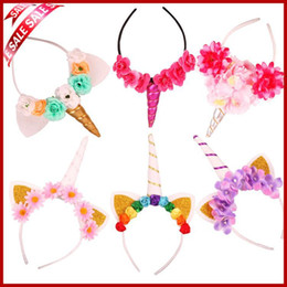 Barato Tiara De Orelha De Gato-Baby Fashion Unicorn Tiaras para o Festival Halloween Lovely Cat Ears Meninas Hair Sticks Kids Hair Bow Headband
