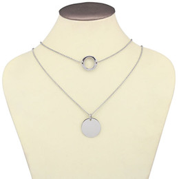 long pendant chains Australia - Long Chains Layered Necklace Double Round pendant max colares bijuterias Statement Shell Geometric Pendant Summer Necklace