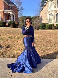 prom dresses blue diamonds Canada - 2 Pieces Royal Blue Mermaid Prom Dresses Long Sleeve Diamonds Beads Satin Floor Length 201 Fashion Party Gowns Custom Size